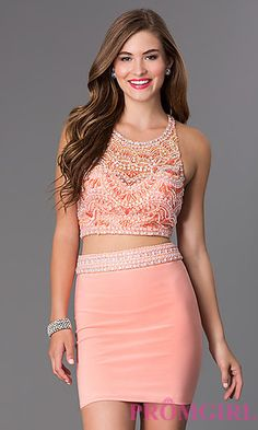 Short Two Piece Blush Dress at PromGirl.com