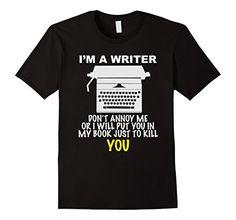 Writer T-Shirt for Real Authors – Male XL – Black