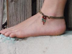Boho Anklet Happiness Three Stranded Brass Beads Anklet With Ethnic Ornamental Beads Toggle Clasp.. $49.00, via Etsy.
