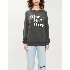 Wildfox Wine Me Over Stretch-jersey Sweatshirt In Clean Black Wildfox, Stretches, Fitness Models, Graphic Sweatshirt, Cleaning, Wine, Sweatshirts, Sweaters, How To Wear