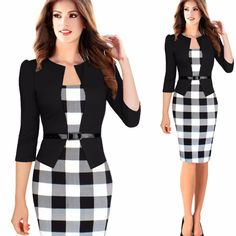 New Fashion Women Faux Two Piece Dress Elegant Pla. New Fashion Women Faux Two Piece Dress Elegant Plaid Long Sleeve Pencil Dresses Office Wear Women Work Outfits With Belt Half Sleeve Dresses, Dresses With Sleeves, Fitted Dresses, Mini Dresses, Party Dresses, Cheap Dresses, Office Wear Women Work Outfits, Office Outfits, Outfit Work