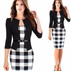 Aliexpress.com: Comprar Vestido de trabajo de manga larga, otoño estilo de dos piezas elegante a cuadros vestidos del lápiz oficina mujeres trajes de la línea de vestidos fiable proveedores en Mona Lisa -