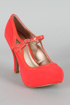 Nubuck Mary Jane Round Toe Pump Coral