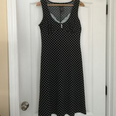 Selling this Navy Blue Sassy Polkadot Dress in my Poshmark closet! My username is: laineybean. #shopmycloset #poshmark #fashion #shopping #style #forsale #Bisou Bisou #Dresses