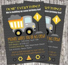 Download FREE Template Dump Truck Birthday Party Invitations Boy Themes