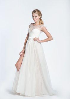 Paolo Sebastian Swan Lake Wedding Dress with White Bustier