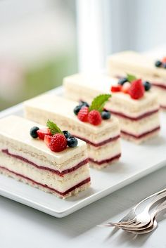 Raspberry Rose Vanilla  Cake - love the way its sliced - perfect tea party portions