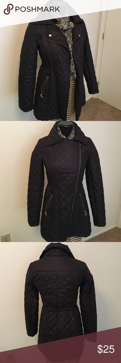 Jessica Simpson 3 quarter length coat Navy blue with gold zippers and button. Slightly cinched at the waist. Jessica Simpson Jackets & Coats