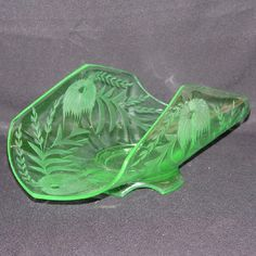 Depression Glass Green Banana Dish