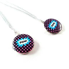 Comic Pow Locket Necklace via Wilde Designs. Click on the image to see more!
