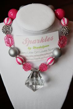 "Our ""Pretty in Pink"" Chunky Girls Necklace. $28.00, via Etsy.  Sparkles by Madelynn"