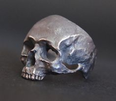 Única plata cráneo anillo MASÓNICO Biker a mano por silverzone88