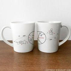 Cute Valentine's Day gift for boyfriend or husband. BoldLoft You Are My World His and Her Coffee Mugs-There's no denying when the right love comes along. Destiny has called, and you have answered! Use this whimsical coffee mug set to exclaim to your honey with passion, you make my world go 'round!