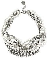 BCBGeneration Rhodium-Tone Pearl Cluster Torsade Necklace