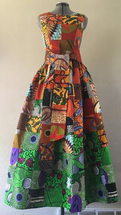 934bfc16bfb Forêt dautomne Wax africain Patchwork fait main Maxi robe