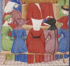 Various hoods & headwear. Christine de Pisan. Le Livre des trois vertus.  Bibliothèque nationale de France, Départment des manuscrits, NAF 25636, fol. 2v.