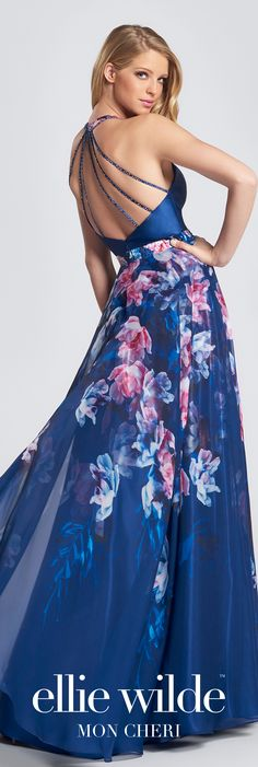 Long chiffon open back prom dress. Sleeveless A-line gown with Mikado halter bodice, multiple back straps, printed charmeuse and chiffon skirt. Designer Evening Gowns, Designer Dresses, Evening Dresses, Open Back Prom Dresses, Western Dresses, Dress Cuts, Only Fashion, Formal Gowns, Dress Patterns