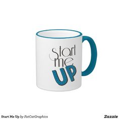 Start Me Up Ringer Mug. Coffee: the perfect drink to start you up. Is it hard to get going in the mornings without coffee? Slurp your favorite cup of java from this START ME UP mug. Fun typographical design.