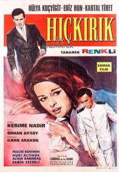 ✿ ❤ Hıçkırık, 1965 yılında Orhan Aksoy'un yönettiği Türk filmi. Filmin senaryosu Hamdi Değirmencioğlu tarafından kaleme alınmıştır. Başrollerini Hülya Koçyiğit, Ediz Hun ve Kartal Tibet paylaşmıştır. Kerime Nadir'in 1936 tarihli Hıçkırık romanından yapılan ikinci uyarlamadır. İlk uyarlama, 1953 yılında Atıf Yılmaz tarafından çevrilmiştir. 1971 yılında yine Kerime Nadir'in devam romanı olan Son Hıçkırık romanından uyarlanan bir devam filmi olan Son Hıçkırık çevrilmiştir. Cinema Film, Film Posters, Nostalgia, Hollywood, Tibet, Movies, Films, Photography, Photograph