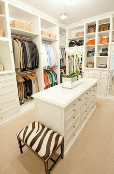 I like the wood on floor underneath clothes hanging up so you don't have the carpet underneath.My dream closet, minus that hideous zebra stool