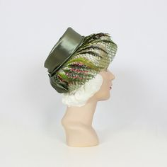 vintage 50s floral hat / 1950s garden hat / beaded green velvet hat / floral trim hat / floral spray hat