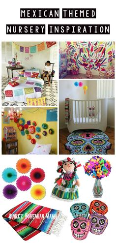 Mexican Themed Baby Nursery Inspiration {Colorful Mexican boho/bohemian kid's room} #bohobaby #hippiebaby