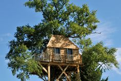 The Treehouse at Chateau de Labro - Aveyron, France. A romantic treehouse for two in the grounds of a relaxed and cool château. Chic decor, Champagne, and a chandelier.