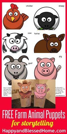 FREE-Farm-Animal-Puppets-HappyandBlessedHome.com, Preschool Activities, Farm Animals, Puppets | teaching preschool | homeschool preschool | preschool education | kid's activities | homeschool education | storytelling puppets