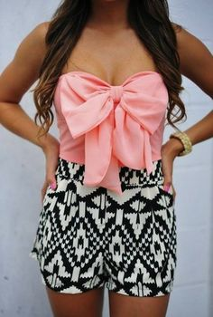 dress black white pink lace aztec shirt peachy bow shorts striped black and white blouse bow coral playsuit romper tank top tribal peach, pink, bow, summer, top strapless top black and white shorts, cute pink bow tribal romper bows crop tops