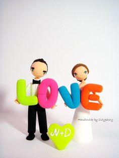 LOVE neon theme wedding cake topper