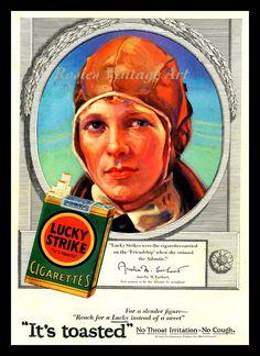 Lucky Strike Cigarettes Vintage 1928 Ad - Amelia Earhart (Wall Art Print 11 x 14 via Etsy)