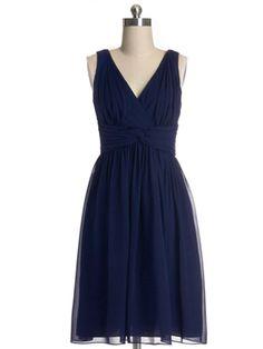 Simple Chiffon Pleated Dark Navy V-neck Short Bridesmaid Dress