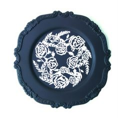 My papercut rose wreath mounted to an upcycled silver plate tray. By Yvonne Laube Designs