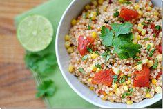 Tex-Mex Couscous:  4 servings; 225 calories, 3.9 g fat, 40.5 g carbs, 3.1 g fiber, 6.9 g protein, 6 points+ per (3/4 cup) serving