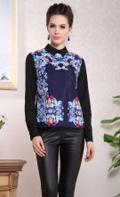 Blue Contrast Collar Long Sleeve Retro Print Blouse $73