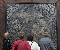 """Randall Libby's ArtPrize entry """"michigan petoskey stone"""" at DeVos Place Convention Center in Grand Rapids on Tuesday, Sept. 29, 2015. It appears on the dynamic Top 100 list of the public's top vote-getters in the 2-D category. (Cory Morse 