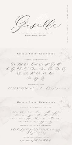 Giselle Script is an elegant modern calligraphy font that will look awesome on wedding and event stationery, logos and branding materials, cards and so on. Caligraphy Alphabet, Hand Lettering Alphabet, Calligraphy Letters, Modern Calligraphy Alphabet, Graffiti Alphabet, Handwriting Fonts, Script Fonts, Penmanship, Wedding Invitation Fonts