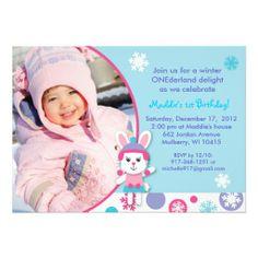 Winter Wonderland Bunny Snow Birthday Invitations