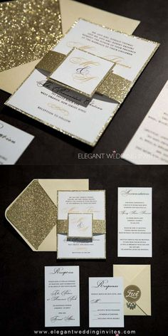 This invite combines glittery backer & band with calligraphy font! Trends come and go, but classic elements stay forever!