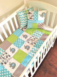 Elephant  Baby  Crib Quilt  in Aqua grey and by AlphabetMonkey, $170.00 THIS WILL BE MY BABYS CRIB