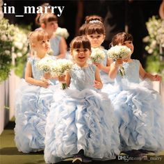 Lovely Baby Blue Ball Gown Pageant Flower Girls Dresses 2017 Ruffles Organza Skirt Girls First Communion Gowns Princess Birthday Party Dress Black Dresses For Girls Camo Flower Girl Dresses From In_marry, $140.36| Dhgate.Com