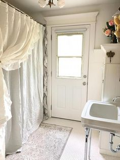 Linen Ruffle Shower Curtain Single Side Shabby Chic Shabbychicbathrooms Two Curtains