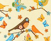 Finally Free by Caroline Simas for Robert Kaufman, Birds and Butterflies in Retro, Yard. $8.50, via Etsy.