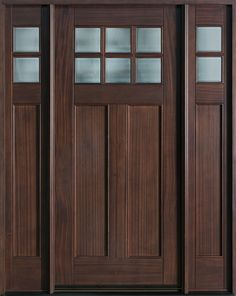 Craftsman Series Mahogany Solid Wood Front Entry Door - Single with 2 Sidelites - DB-112 2SL