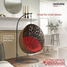 Round and round you go! Swing, relax, and get comfortable in your Egg Chair while you read your favorite book or sip on hot coffee. Rent one today! Thinking of Renting . Think of Rentickle! Egg Swing Chair, Swinging Chair, Egg Chair, Small Places, Renting, Hot Coffee, Your Favorite, Relax, House Design