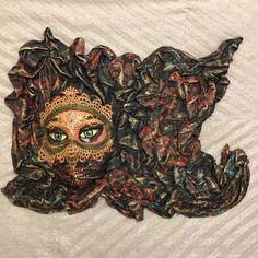 Venetian mask, handmade mask, ethnic mask, wall decoration, Arabian style, fabric mask, ethnic style, ethnic figure, batik style, arabesque by EthnicDrops on Etsy https://www.etsy.com/listing/494643032/venetian-mask-handmade-mask-ethnic-mask
