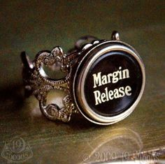 MARGIN RELEASE 1940s Vintage Typewriter Key Ring by 19 Moons SteamPunk. Except saying a letter or number or something other than Margin release