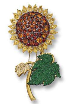 Diamond and Colored Stone Flower Brooch, Nardi