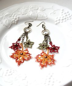 Autumn Leaves Fiber Dangle Shades of Autumn by KnotTherapy on Etsy, $24.00