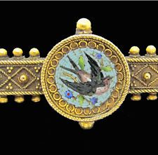 ANTIQUE MICRO MOSAIC 14 K Gold BROOCH BIRD SWALLOW ITALY Forget-me-not Flowers